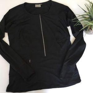 Black Athleta Pullover Zip Long Sleeve